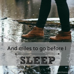 And miles to go before I sleep